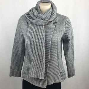 Theory Gray Chucky Knit Cardigan with Scarf L